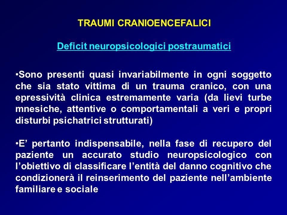TRAUMI CRANIOENCEFALICI Deficit neuropsicologici postraumatici Sono presenti quasi invariabilmente in ogni soggetto che sia stato vittima di un trauma