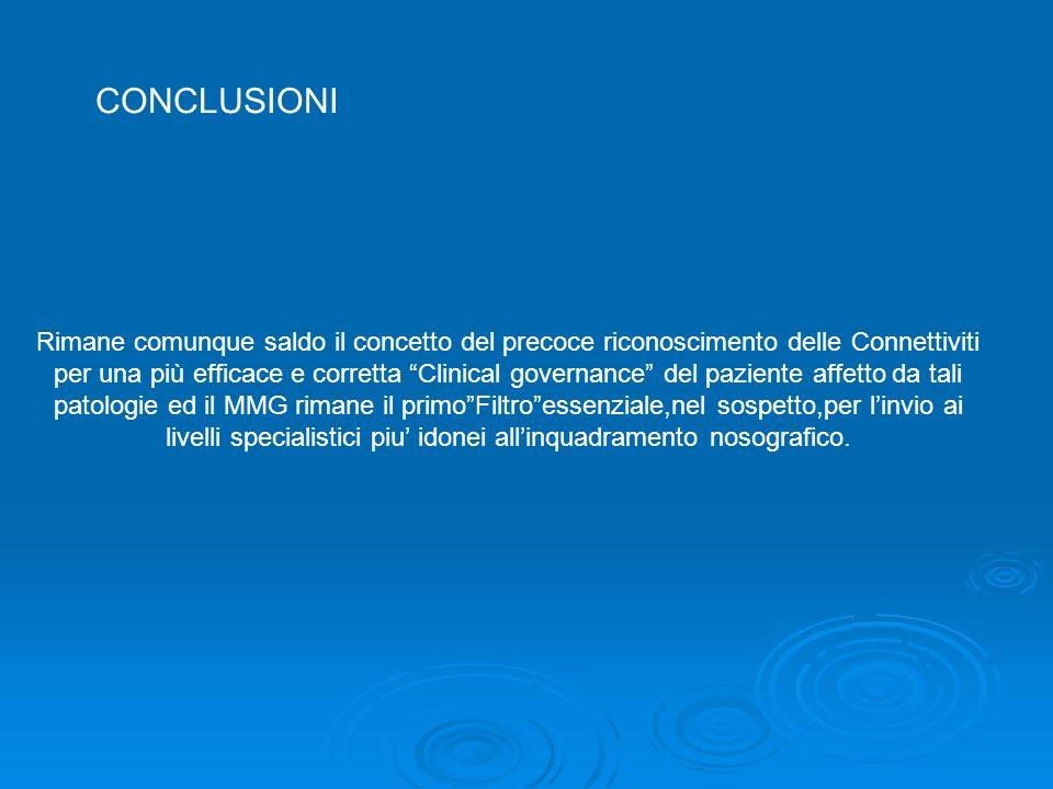 Rimane comunque saldo il concetto del precoce riconoscimento delle Connettiviti per una più efficace e corretta Clinical governance del paziente affet
