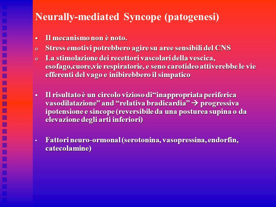 Neurally-mediated Syncope (patogenesi) Il mecanismo non è noto. Il mecanismo non è noto. o Stress emotivi potrebbero agire su aree sensibili del CNS o