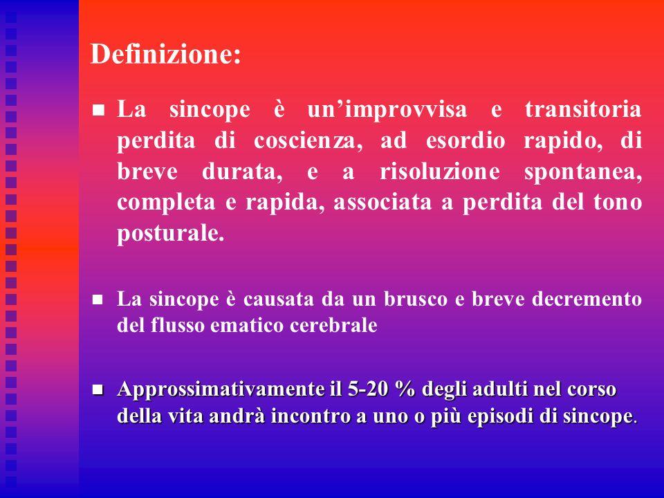 Definizione: La sincope è unimprovvisa e transitoria perdita di coscienza, ad esordio rapido, di breve durata, e a risoluzione spontanea, completa e r