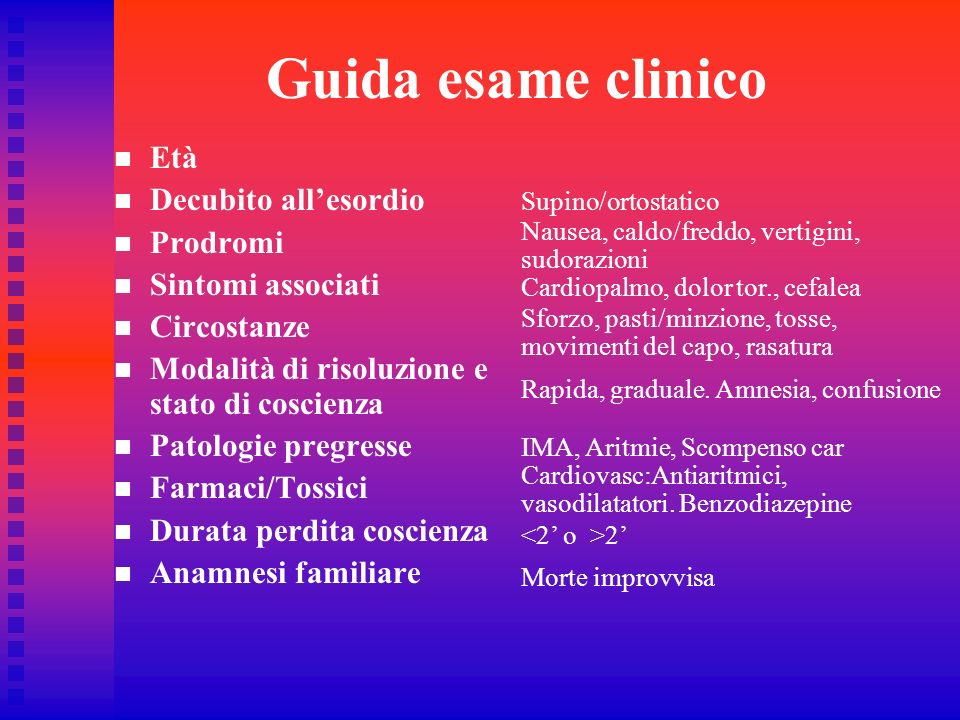 Guida esame clinico Età Decubito allesordio Prodromi Sintomi associati Circostanze Modalità di risoluzione e stato di coscienza Patologie pregresse Fa