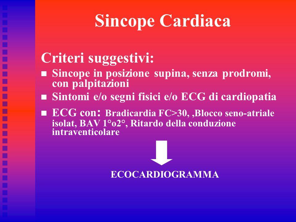 Sincope Cardiaca Criteri suggestivi: Sincope in posizione supina, senza prodromi, con palpitazioni Sintomi e/o segni fisici e/o ECG di cardiopatia ECG