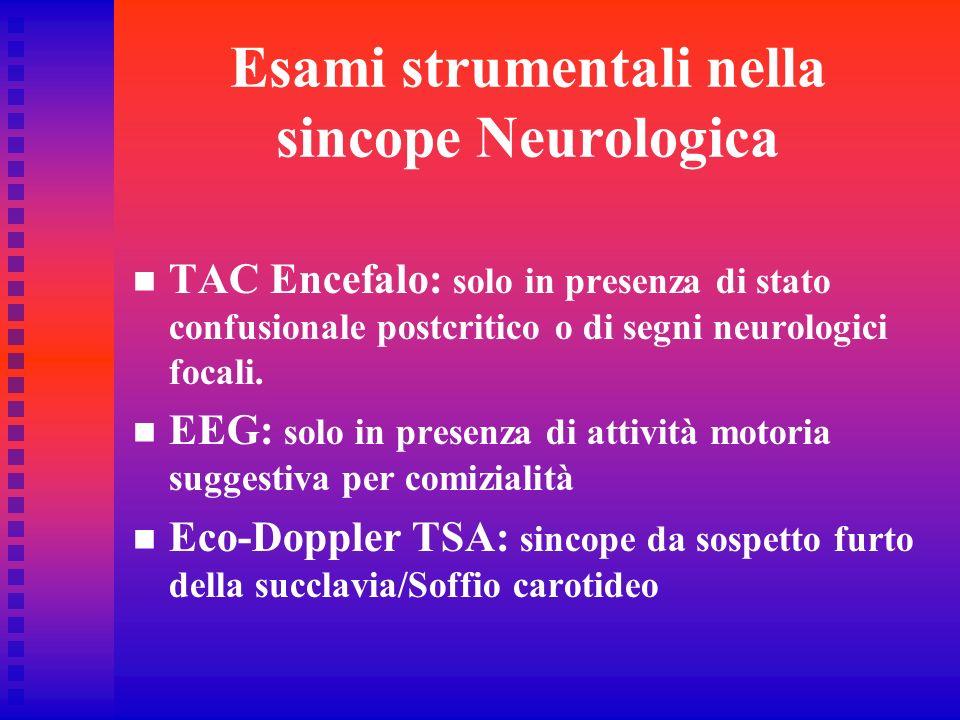 Esami strumentali nella sincope Neurologica TAC Encefalo: solo in presenza di stato confusionale postcritico o di segni neurologici focali. EEG: solo