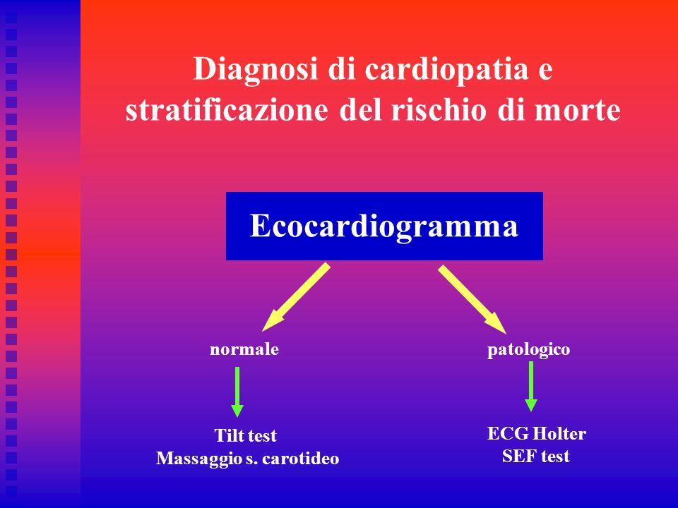 Diagnosi di cardiopatia e stratificazione del rischio di morte Ecocardiogramma normalepatologico Tilt test Massaggio s. carotideo ECG Holter SEF test