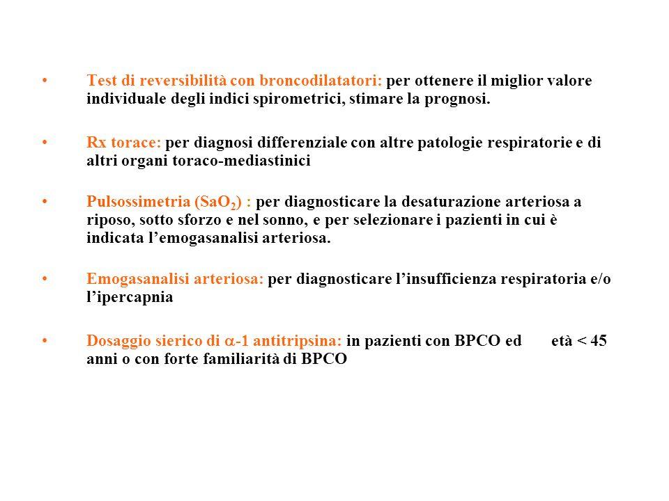 Test di reversibilità con broncodilatatori: per ottenere il miglior valore individuale degli indici spirometrici, stimare la prognosi. Rx torace: per