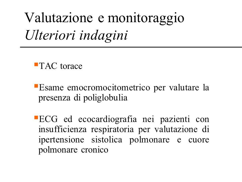 Valutazione e monitoraggio Ulteriori indagini TAC torace Esame emocromocitometrico per valutare la presenza di poliglobulia ECG ed ecocardiografia nei