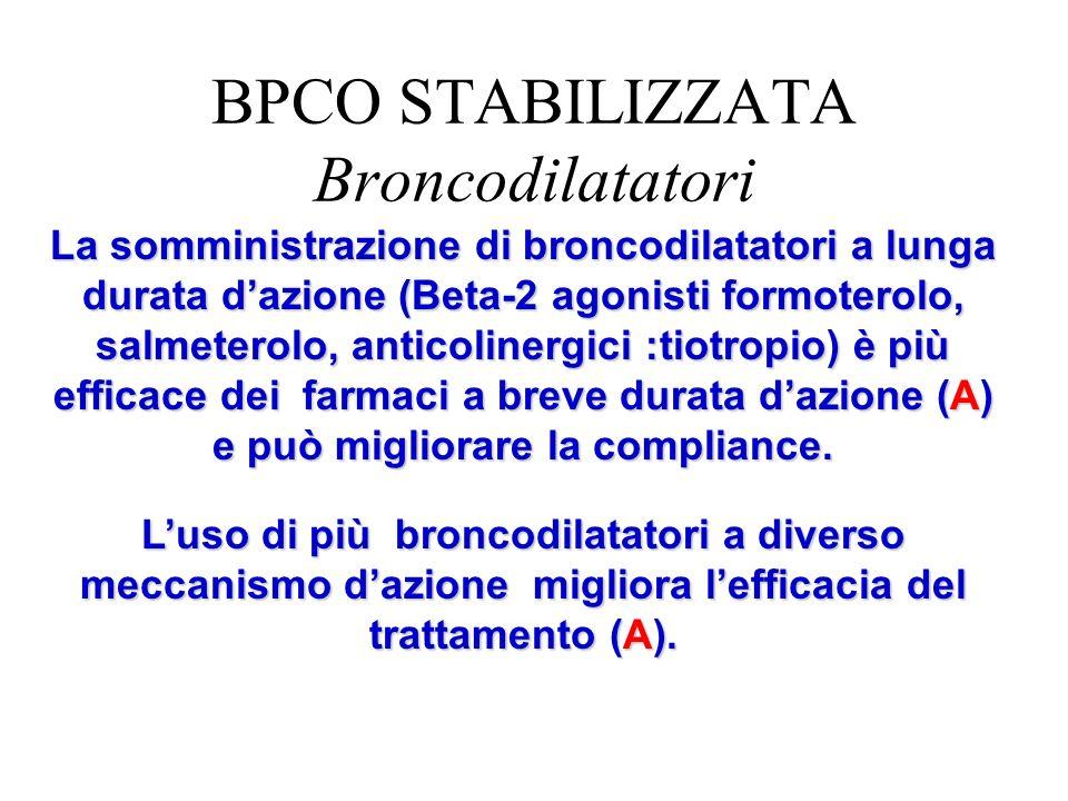 La somministrazione di broncodilatatori a lunga durata dazione (Beta-2 agonisti formoterolo, salmeterolo, anticolinergici :tiotropio) è più efficace d
