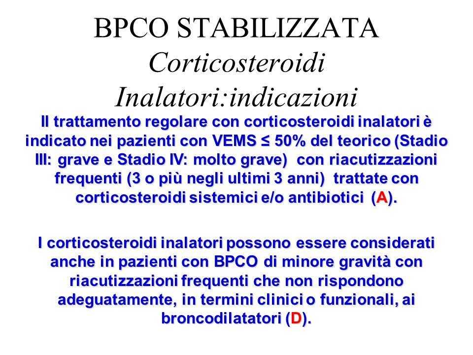 Il trattamento regolare con corticosteroidi inalatori è indicato nei pazienti con VEMS 50% del teorico (Stadio III: grave e Stadio IV: molto grave) co