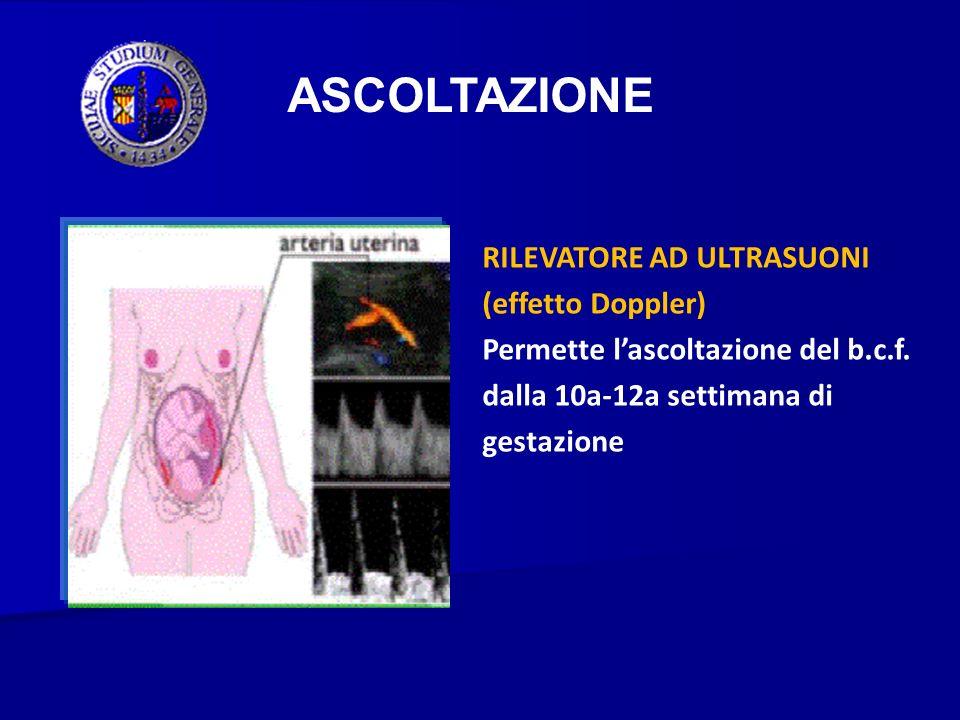 ASCOLTAZIONE RILEVATORE AD ULTRASUONI (effetto Doppler) Permette lascoltazione del b.c.f. dalla 10a-12a settimana di gestazione