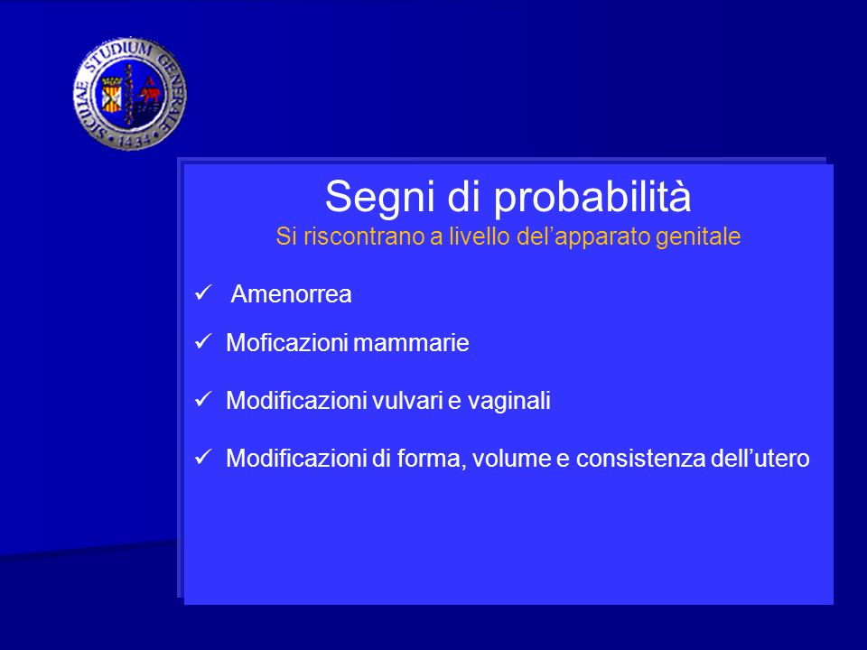 Segni di probabilità Si riscontrano a livello delapparato genitale Amenorrea Moficazioni mammarie Modificazioni vulvari e vaginali Modificazioni di fo