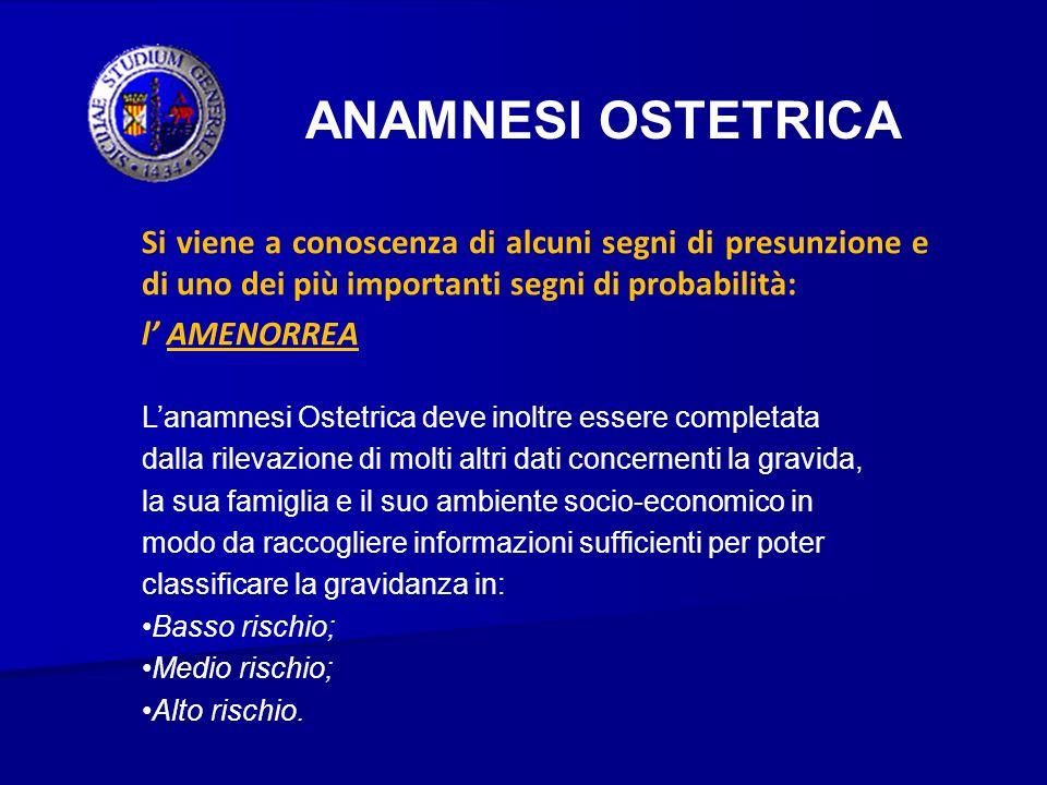 ANAMNESI OSTETRICA Si viene a conoscenza di alcuni segni di presunzione e di uno dei più importanti segni di probabilità: l AMENORREA Lanamnesi Ostetr