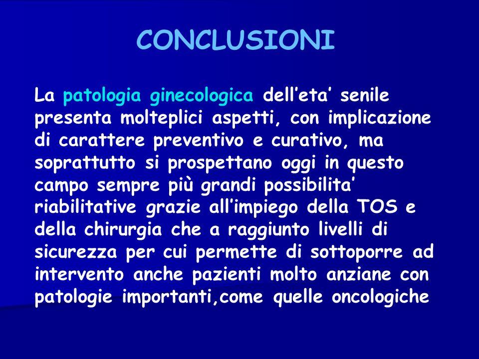 CONCLUSIONI La patologia ginecologica delleta senile presenta molteplici aspetti, con implicazione di carattere preventivo e curativo, ma soprattutto