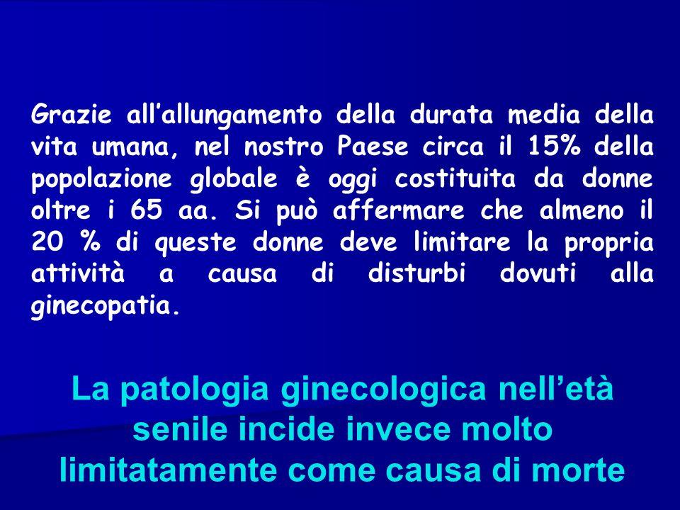 ONCOLOGIA GINECOLOGICA IN ETA SENILE DIAGNOSI DIFFERENZIALE: Vasculopatie endometriali (spt nelle ipertese) Endometrite senile Fibromi o polipi uterini Alterazioni su base distrofica-atrofica dellepitelio vaginale che sanguina ali minimo traumatismo o per cause flogistiche Cause iatrogeniche (somministrazione di E.) ISTEROSCOPIA