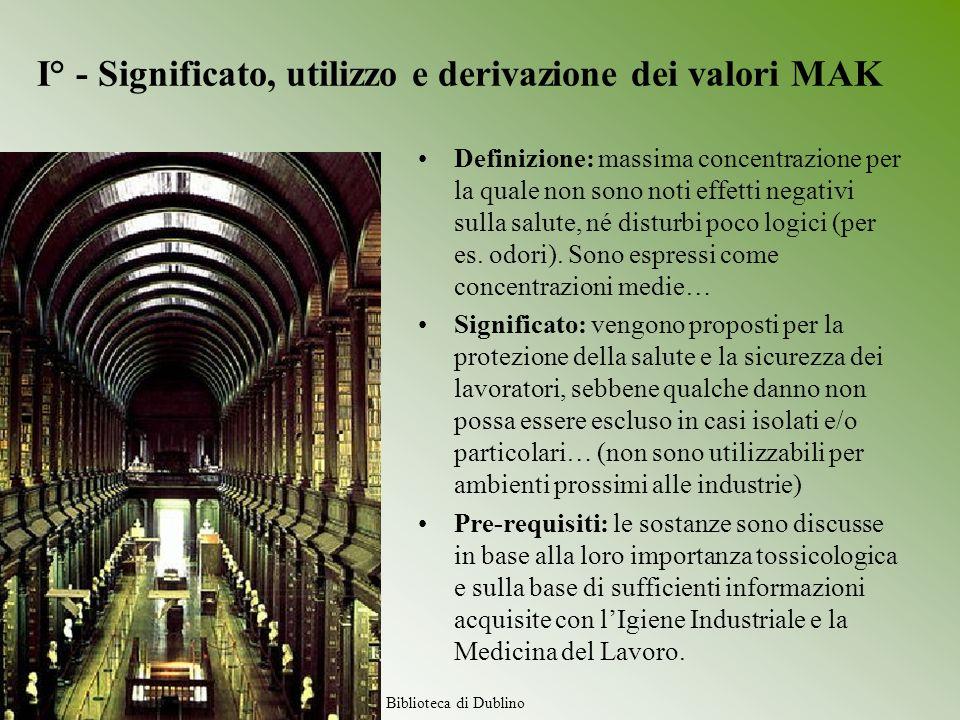 I° - Significato, utilizzo e derivazione dei valori MAK Definizione: massima concentrazione per la quale non sono noti effetti negativi sulla salute,