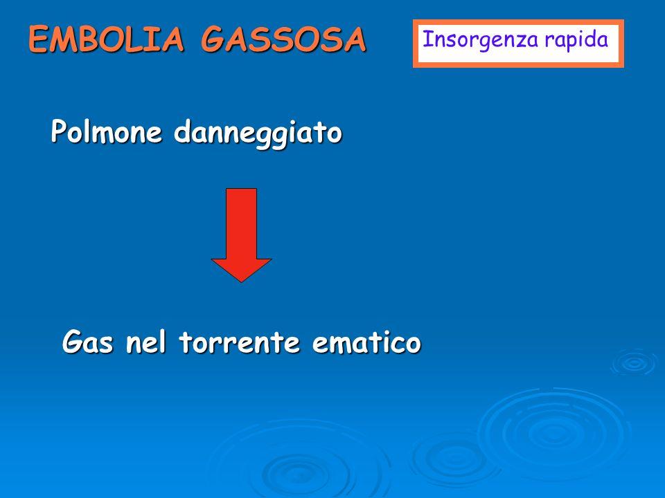 EMBOLIA GASSOSA Insorgenza rapida Polmone danneggiato Gas nel torrente ematico