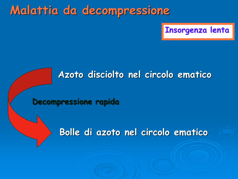 Insorgenza lenta Malattia da decompressione Azoto disciolto nel circolo ematico Decompressione rapida Bolle di azoto nel circolo ematico Bolle di azot