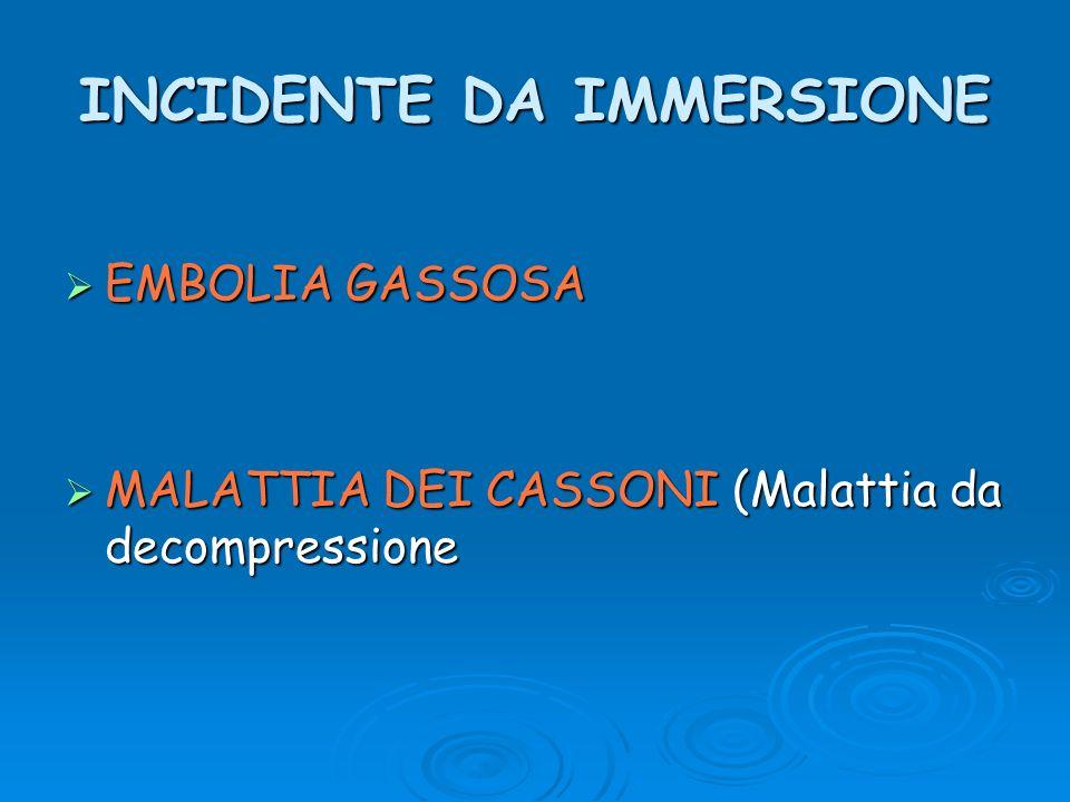 INCIDENTE DA IMMERSIONE EMBOLIA GASSOSA EMBOLIA GASSOSA MALATTIA DEI CASSONI (Malattia da decompressione MALATTIA DEI CASSONI (Malattia da decompressi