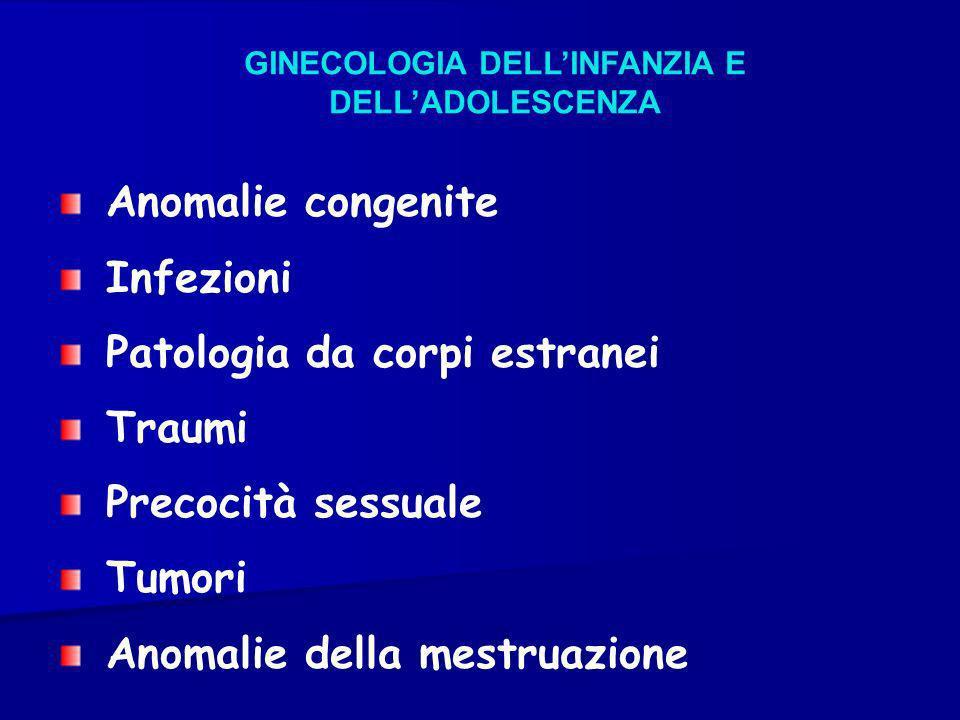 GINECOLOGIA DELLINFANZIA E DELLADOLESCENZA Anomalie congenite Infezioni Patologia da corpi estranei Traumi Precocità sessuale Tumori Anomalie della me