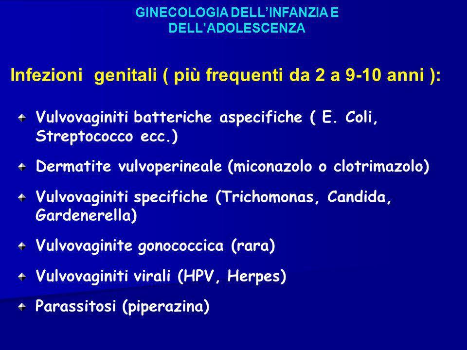 GINECOLOGIA DELLINFANZIA E DELLADOLESCENZA Infezioni genitali ( più frequenti da 2 a 9-10 anni ): Vulvovaginiti batteriche aspecifiche ( E. Coli, Stre