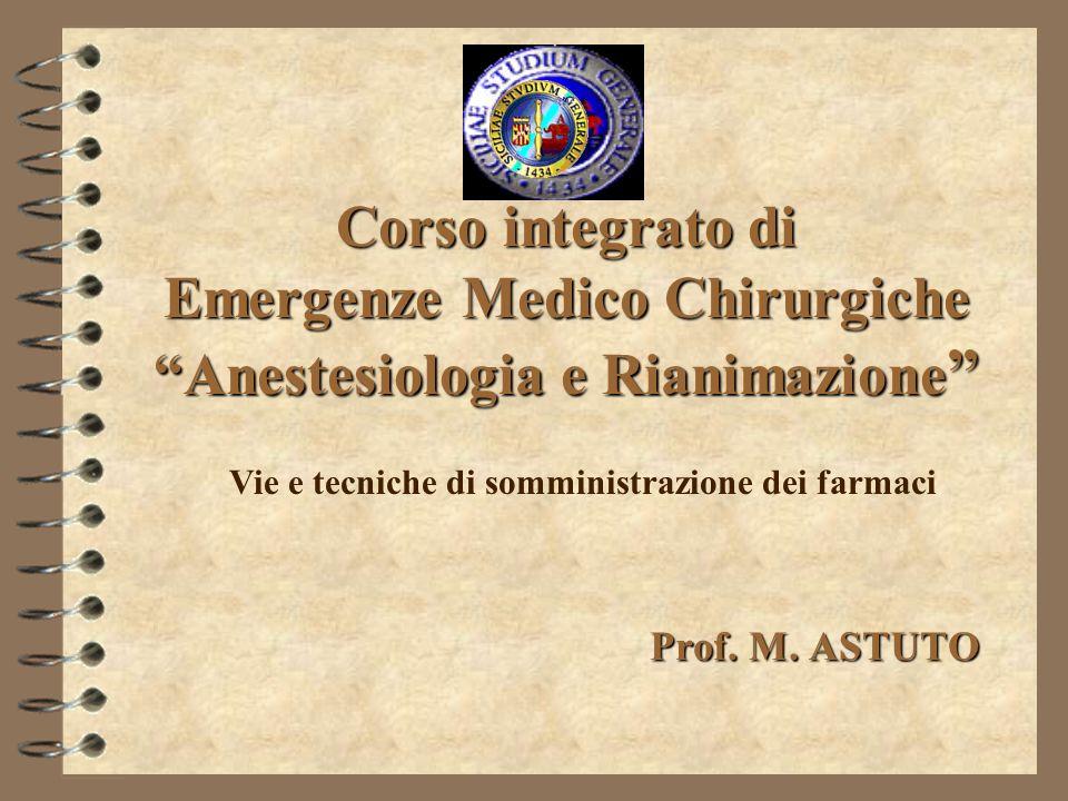 Corso integrato di Emergenze Medico Chirurgiche Anestesiologia e Rianimazione Corso integrato di Emergenze Medico Chirurgiche Anestesiologia e Rianima