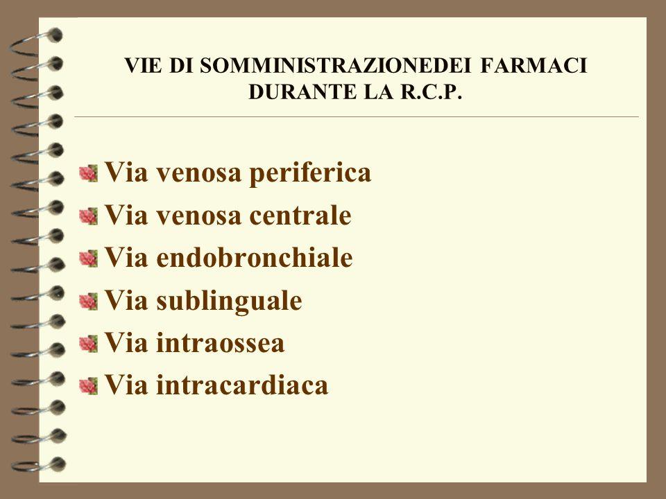 VIE DI SOMMINISTRAZIONEDEI FARMACI DURANTE LA R.C.P. Via venosa periferica Via venosa centrale Via endobronchiale Via sublinguale Via intraossea Via i