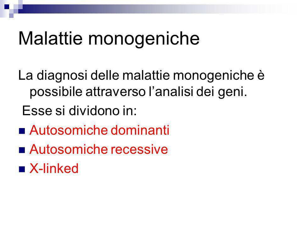 Malattie monogeniche La diagnosi delle malattie monogeniche è possibile attraverso lanalisi dei geni. Esse si dividono in: Autosomiche dominanti Autos
