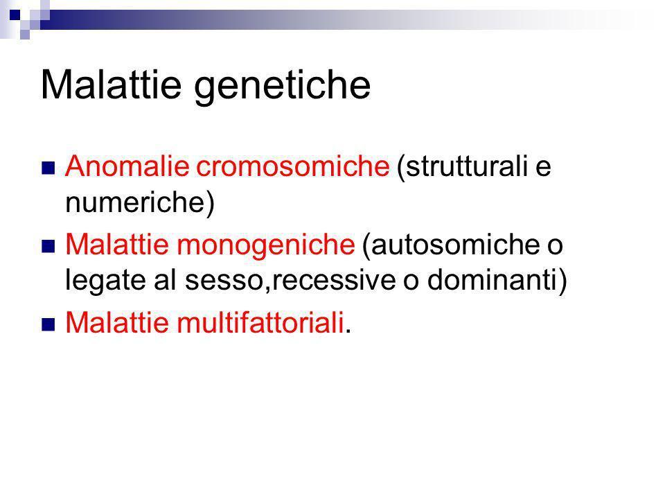 Malattie genetiche Anomalie cromosomiche (strutturali e numeriche) Malattie monogeniche (autosomiche o legate al sesso,recessive o dominanti) Malattie