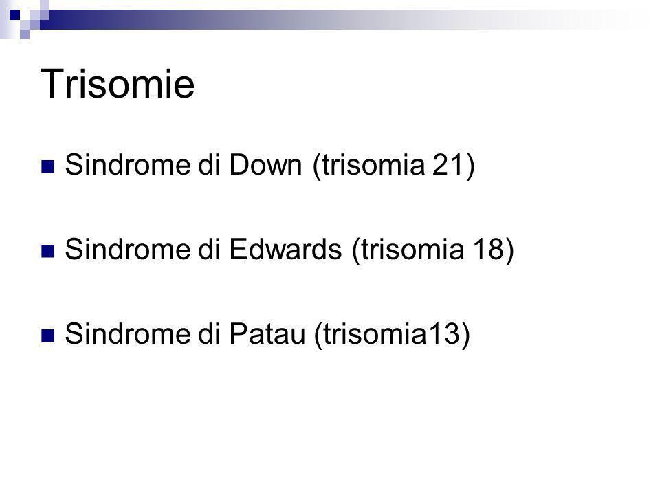 Trisomie Sindrome di Down (trisomia 21) Sindrome di Edwards (trisomia 18) Sindrome di Patau (trisomia13)