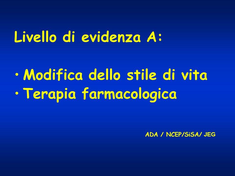 Livello di evidenza A: Modifica dello stile di vita Terapia farmacologica ADA / NCEP/SiSA/ JEG