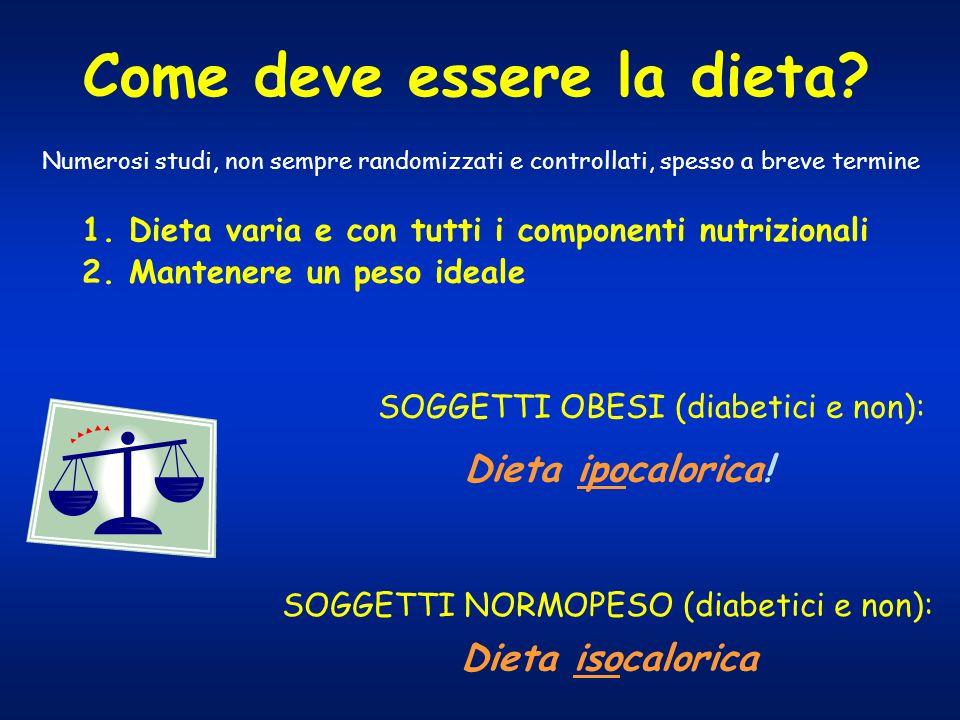 Come deve essere la dieta? 1. Dieta varia e con tutti i componenti nutrizionali 2. Mantenere un peso ideale SOGGETTI OBESI (diabetici e non): Dieta ip