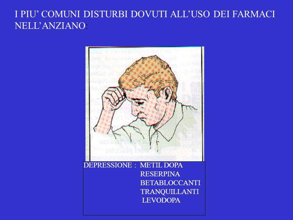 I PIU COMUNI DISTURBI DOVUTI ALLUSO DEI FARMACI NELLANZIANO: DEPRESSIONE : METIL DOPA RESERPINA BETABLOCCANTI TRANQUILLANTI LEVODOPA