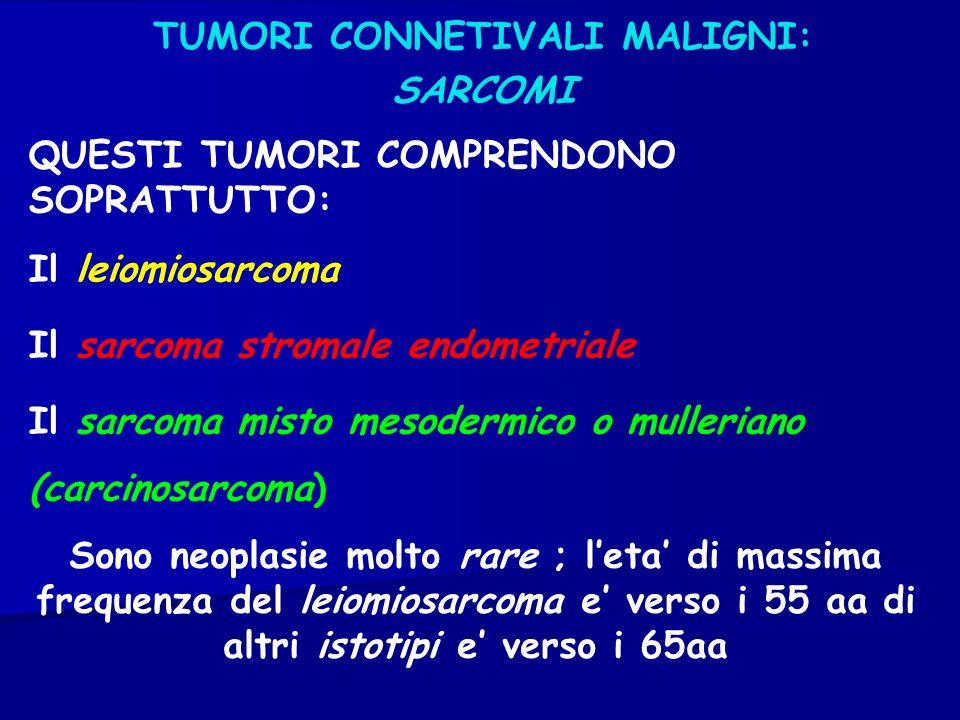 TUMORI CONNETIVALI MALIGNI: SARCOMI QUESTI TUMORI COMPRENDONO SOPRATTUTTO: Il leiomiosarcoma Il sarcoma stromale endometriale Il sarcoma misto mesoder