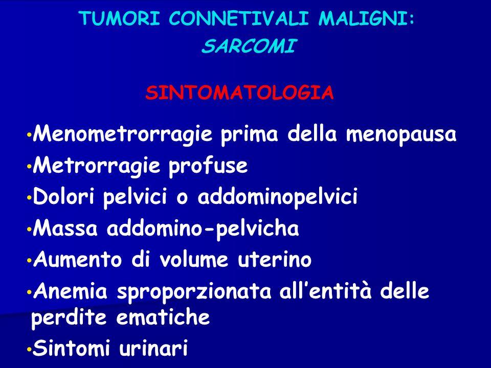 TUMORI CONNETIVALI MALIGNI: SARCOMI Menometrorragie prima della menopausa Metrorragie profuse Dolori pelvici o addominopelvici Massa addomino-pelvicha