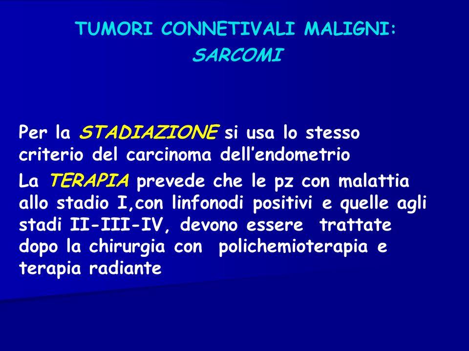 TUMORI CONNETIVALI MALIGNI: SARCOMI Per la STADIAZIONE si usa lo stesso criterio del carcinoma dellendometrio La TERAPIA prevede che le pz con malatti