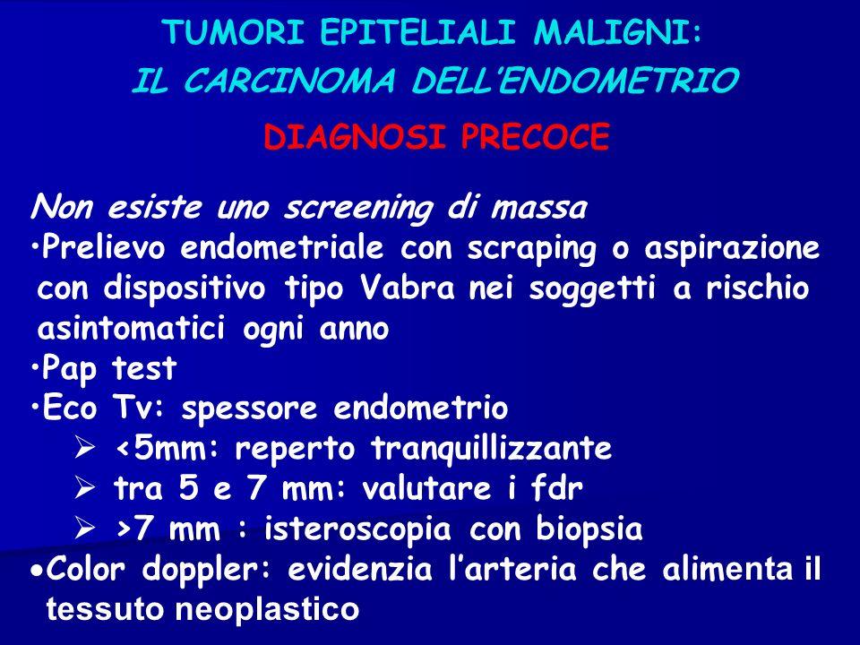 TUMORI EPITELIALI MALIGNI: IL CARCINOMA DELLENDOMETRIO Non esiste uno screening di massa Prelievo endometriale con scraping o aspirazione con disposit