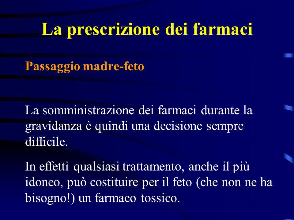 La prescrizione dei farmaci Passaggio madre-feto La somministrazione dei farmaci durante la gravidanza è quindi una decisione sempre difficile.