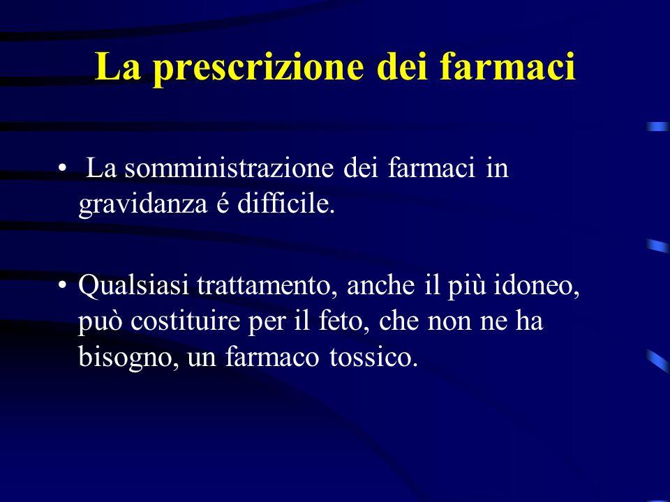 La prescrizione dei farmaci La somministrazione dei farmaci in gravidanza é difficile.