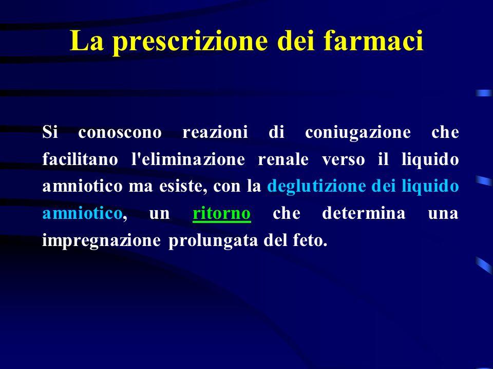La prescrizione dei farmaci Si conoscono reazioni di coniugazione che facilitano l eliminazione renale verso il liquido amniotico ma esiste, con la deglutizione dei liquido amniotico, un ritorno che determina una impregnazione prolungata del feto.