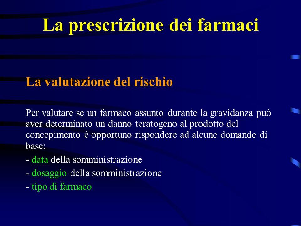 La prescrizione dei farmaci La valutazione del rischio Per valutare se un farmaco assunto durante la gravidanza può aver determinato un danno teratogeno al prodotto del concepimento è opportuno rispondere ad alcune domande di base: - data della somministrazione - dosaggio della somministrazione - tipo di farmaco