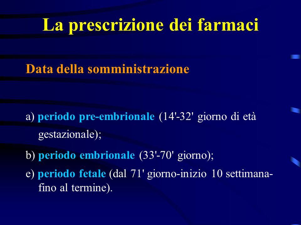 La prescrizione dei farmaci Data della somministrazione a) periodo pre-embrionale (14 -32 giorno di età gestazionale); b) periodo embrionale (33 -70 giorno); e) periodo fetale (dal 71 giorno-inizio 10 settimana- fino al termine).