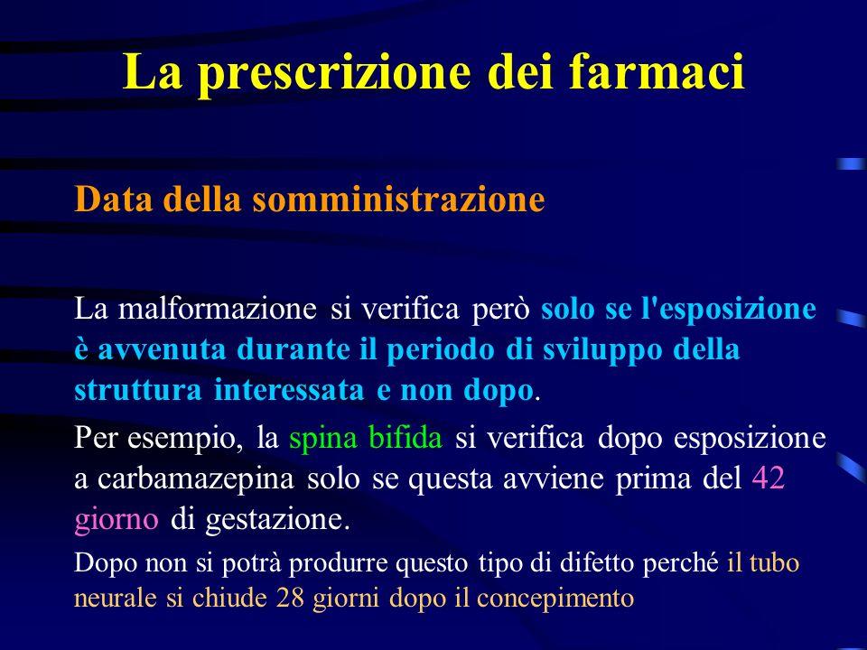 La prescrizione dei farmaci Data della somministrazione La malformazione si verifica però solo se l esposizione è avvenuta durante il periodo di sviluppo della struttura interessata e non dopo.