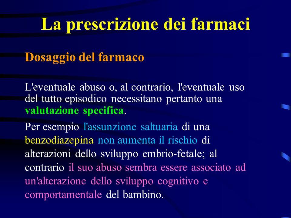 La prescrizione dei farmaci Dosaggio del farmaco L eventuale abuso o, al contrario, l eventuale uso del tutto episodico necessitano pertanto una valutazione specifica.