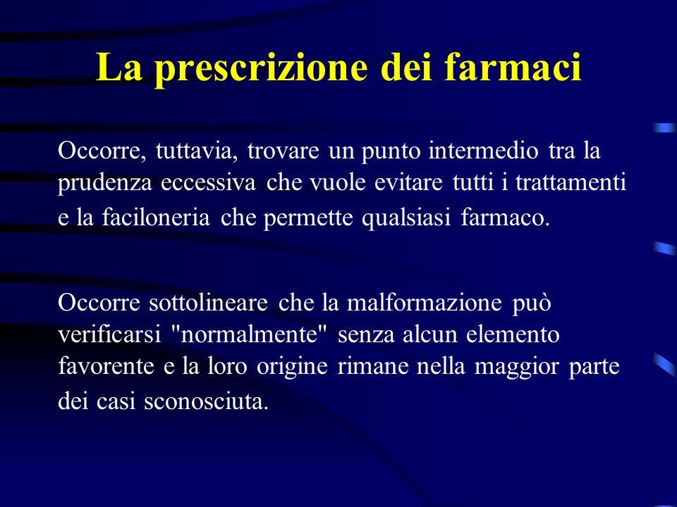 La prescrizione dei farmaci Le nostre conoscenze rimangono ancora limitate a delle informazioni statistiche che permettono di calcolare un rischio relativo ma non di fornire alla donna gravida alcun dato certo.