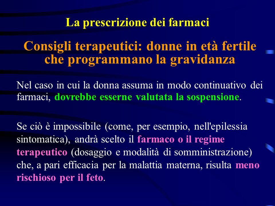 La prescrizione dei farmaci Nel caso in cui la donna assuma in modo continuativo dei farmaci, dovrebbe esserne valutata la sospensione.