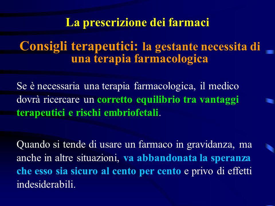 La prescrizione dei farmaci Se è necessaria una terapia farmacologica, il medico dovrà ricercare un corretto equilibrio tra vantaggi terapeutici e rischi embriofetali.