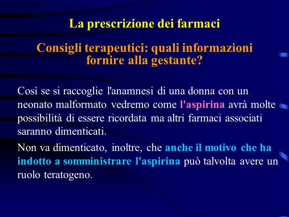 La prescrizione dei farmaci Così se si raccoglie l anamnesi di una donna con un neonato malformato vedremo come l aspirina avrà molte possibilità di essere ricordata ma altri farmaci associati saranno dimenticati.
