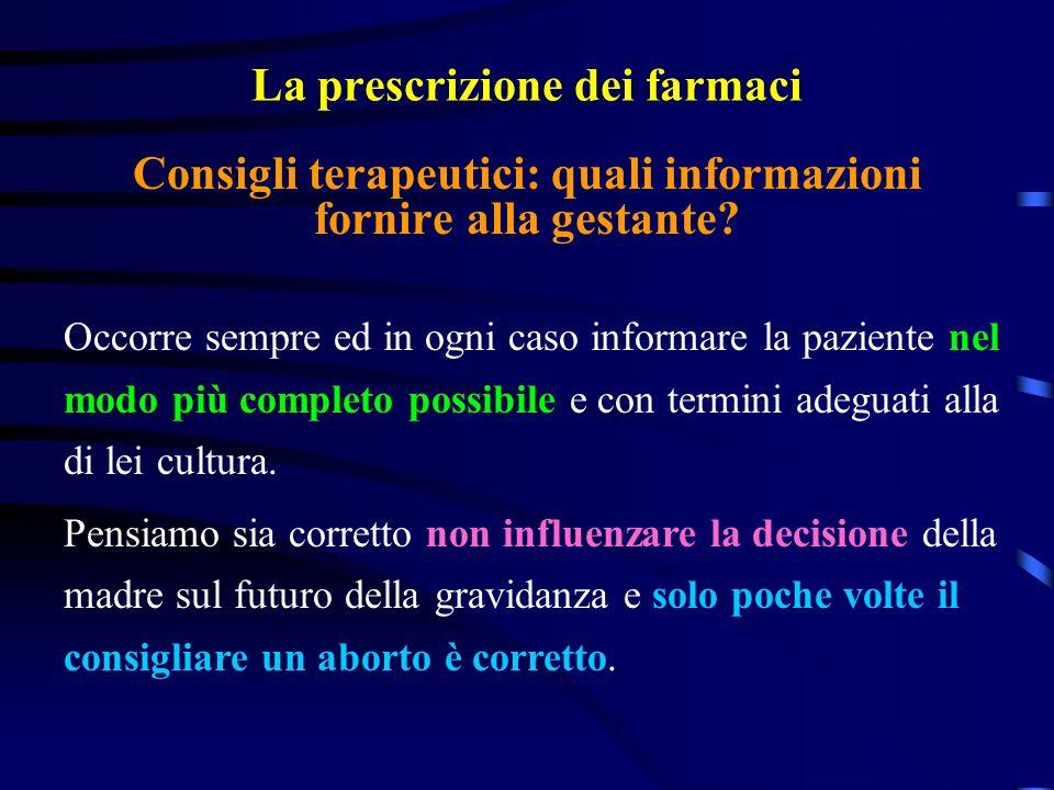 La prescrizione dei farmaci Occorre sempre ed in ogni caso informare la paziente nel modo più completo possibile e con termini adeguati alla di lei cultura.
