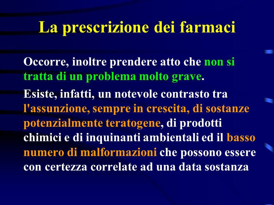 La prescrizione dei farmaci I fattori responsabili della teratogenicità da farmaci sono numerosi e pur tuttavia possono essere raggruppati in tre punti Il passaggio madre-feto Il momento e la durata del trattamento Il prodotto