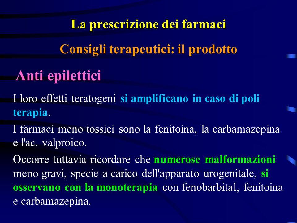 La prescrizione dei farmaci Anti epilettici Consigli terapeutici: il prodotto I loro effetti teratogeni si amplificano in caso di poli terapia.