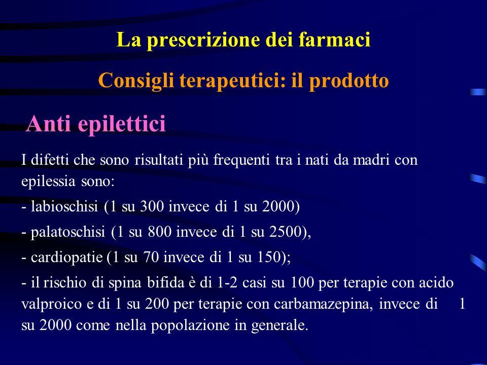 La prescrizione dei farmaci Anti epilettici Consigli terapeutici: il prodotto I difetti che sono risultati più frequenti tra i nati da madri con epilessia sono: - labioschisi (1 su 300 invece di 1 su 2000) - palatoschisi (1 su 800 invece di 1 su 2500), - cardiopatie (1 su 70 invece di 1 su 150); - il rischio di spina bifida è di 1-2 casi su 100 per terapie con acido valproico e di 1 su 200 per terapie con carbamazepina, invece di 1 su 2000 come nella popolazione in generale.